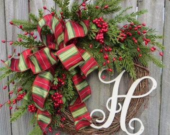 Christmas Grapevine Wreath with New Traditional Bow,  Christmas Wreath, Berries and Greenery Wreath, Monogram Christmas Decor, Red Berries