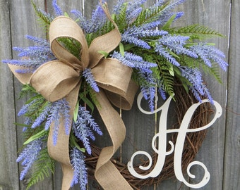 Spring Wreath, Lavender Fields Wreath for Spring and Summer, Burlap Wreath, Lavender Herb Wreath, Burlap Monogram Wreath, Lavender Farm