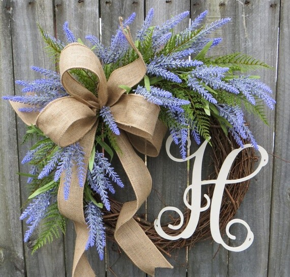 Spring Wreath, Lavender Fields Wreath for Spring and Summer, Burlap Wreath, Lavender Herb Wreath, Burlap Monogram Wreath, Lavender Farm