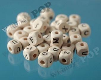 100 - WOODEN BEADS - Chunky Plain Unfinished Alphabet Letters  Wood Beads, Wood Beads, Wooden Beads, 10mm, Hole 3mm (C1-31)