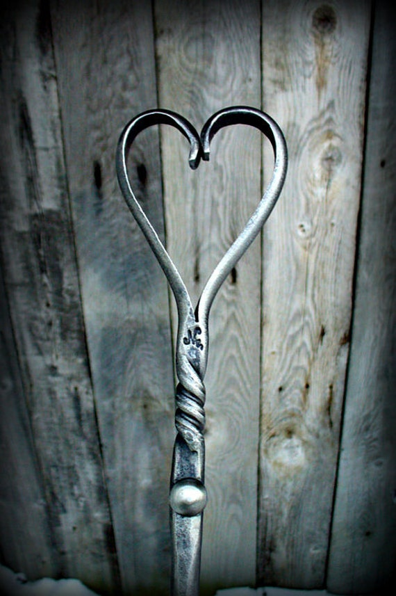 FIREPLACE POKER with Forged Heart Handle (wall hook included) - 6th Wedding Anniversary Gift Idea - Hand Forged and signed by Blacksmith Naz