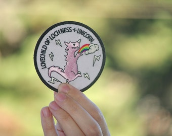 Pink Dinosaur Patch Rawr badge rainbow patch dino t-rex trex unicorn unirex rainbow lgbt gay lesbian pride loch ness lovechild diverstity