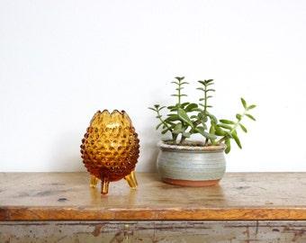 Glass Succulent Planter Amber Egg Shaped Knobby Tripod Legs Hobnail Dish Small Petite Vase