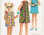 1960s Girls' Wrap-Around Dress Pattern Simplicity 7617 Child's Vintage Sewing Pattern Easy to Sew Retro Summer Sun Dress Size 10