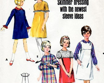 1960s Girl's Empire Waist Dress Pattern Butterick 4123 Child's Vintage Sewing Pattern Retro A-Line Mini Dress Size 10 Tweens