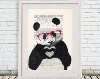 Panda Bear Print, Original Panda Artwork, Red Panda, Black and White, Cute Christmas Idea, Woodlands Decor, Wild Animal Print, Finger Heart