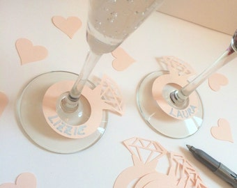 25 BLUSH PINK He Put A Ring On It diamond engagement ring wine champagne drink markers for bachelorette bridal shower or engagement party