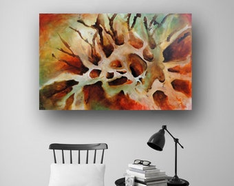 Abstract Painting, Fall Colors, Painting, Original Painting on Canvas, Earthy Tones, Contemporary, Fluid Art, 36x24 Art by Heather Day