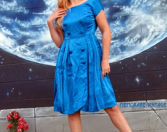 1950s satin dress royal blue button up fitted pinup vintage // size S / XS
