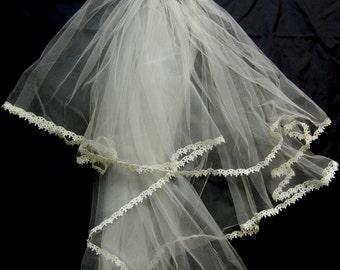 Vintage Veil, 1950s Veil, Wedding Veil, Vintage Wedding Veil, Vintage 50s Wedding Veil, White Veil, White Wedding Veil, Crown Veil, 50s Veil