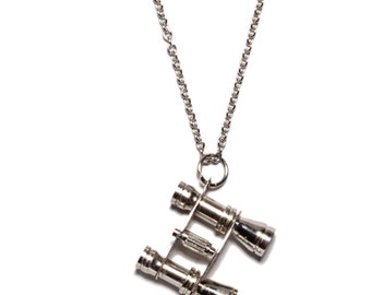 End of Season Sale - Mens Necklace - Mens Jewelry - Silver Binoculars pendant necklace - Binoculars necklace - Silver chain.