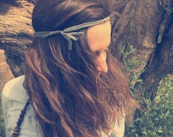 Fabric headband, yoga headband, The Fringe FiveBand, recycled headband, gray headband, grey headband, fringe hair accessory, hippie band