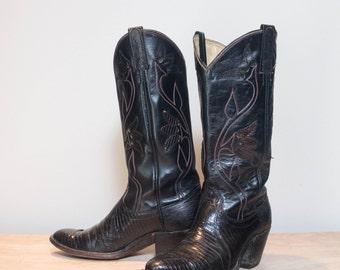6.5 C | Women's Dan Post Lizard Flower Outlay Western Boots in Black & Red