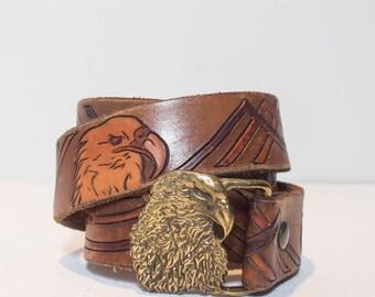 """30""""-35""""   1970's Vintage Leather Belt w/ Embossed Eagle & Eagle Belt Buckle"""