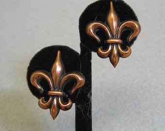 Copper Fleur D' Lis Screwback Earrings, 1960, Vintage