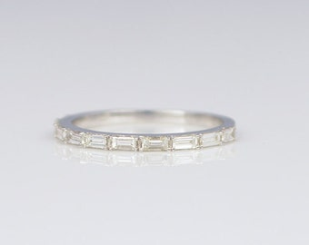 Baguette Diamond Half Eternity Ring 14K Gold Wedding Band Rectangular Stackable FG128