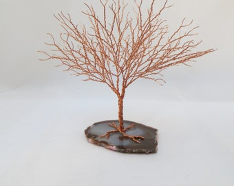 Copper Tree of Life, Copper Tree Sculpture Home Decor, Wire Tree of Life Centerpiece, Copper Agate Wire Wrapped Tree Sculpture