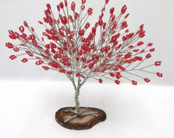 Red Tree of Life, Red Seed Bead Tree Schultpure, Beaded Bonsai Tree, Red Tree Cake Topper, Wire Tree Sculpture Home Decor