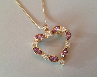 Open Heart Rhinestone Pendant Brooch Combo on a Chain