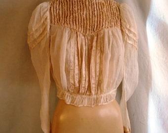 Victorian Blouse 1900's Bodice Antique Gibson Silk Bodice Ruffles Pigeon Breast