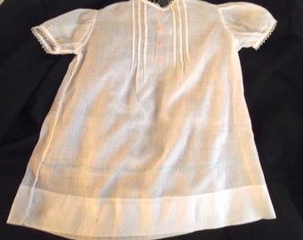 Vintage 1940's Baby Dress Vintage White Cotton Dress Pink and Blue Embroidery and Lace