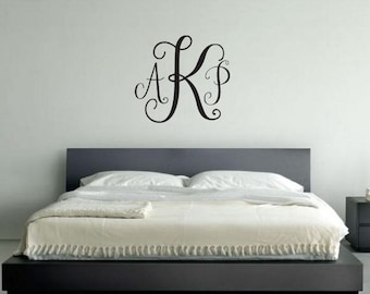 Monogram Wall Decal | Initial Wall Decal | Nursery Decal | Vinyl Personalized Letters | Housewarming Gift | Apartment Decorating