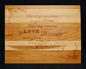 Home, Family, Custom Engraved, Hickory, Cutting Board,