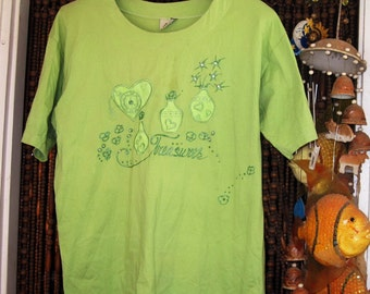 Embroidered and Sequined T-Shirt/Tunic in hues of Green - Large