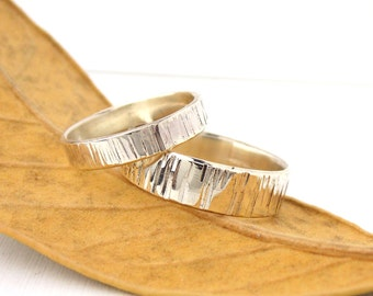 His & Hers Set Tree Bark Wedding Band: sterling silver ring, textured ring, wedding ring, wide wedding band, birch textured ring