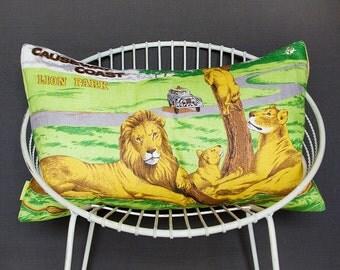 SALE Large Lion Cushion Cover, Kids Pillow Sham, Safari Animal theme nursery, Childrens decor upcycled vintage linen tea towel, ECO gift LEO