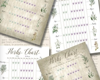 Herbs Chart Mini Posters crafting paper craft art prints wall art instant download printable paper digital collage sheet - VDMIVI1356