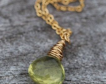 Lemon Quartz Semi-Precious Gemstone Necklace