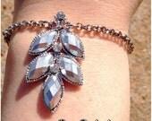 Silver Leaf and Rhinestone bracelet-Nature Inspired Jewelry-Bridal Jewelry-Prom Jewelry-Jewelry Gift