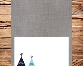 Navy Blue Teepee Food Tent, Navy food tent, tribal, food tent, teepee, Gray, As is, instant download - 1PDF 8.5x11, 1515
