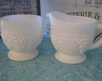 Imperial Glass Creamer and Sugar Bowl Set, Milk Glass Creamer and Sugar,  Grape Pattern