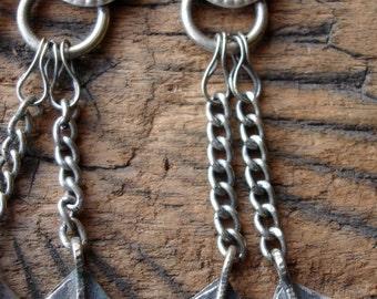 Kuchi tarnished double  heart chains with jewel