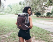 Convertible backpack pannier, waxed canvas backpack -- grey and brown