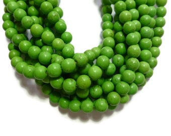 Green Howlite - 10mm Round Beads - 42 beads - Full Strand - Pea - Green Apple - Avocado - Kiwi