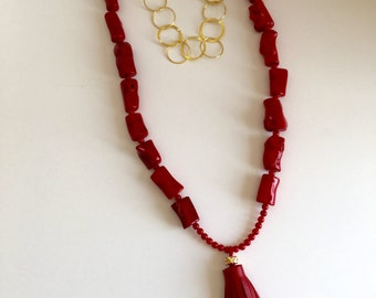 Red Bamboo Coral  Neclace with Red Leather Tassel