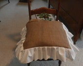 Kitchen - Dinning Chair Burlap Seat Cover -18 x 18 inches -Hand Pleated  White Ruffle with Bow Ties