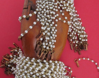 Five Vintage  Pearl Shabby Chic Bracelets With Clasp