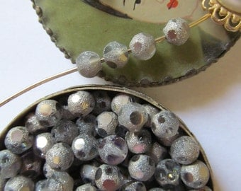 50 Unusual Polka Dotted Gunmetal  Glass  Beads