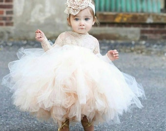 flower girl dress, long sleeve lace tutu dress, ivory and champagne flower girl dress