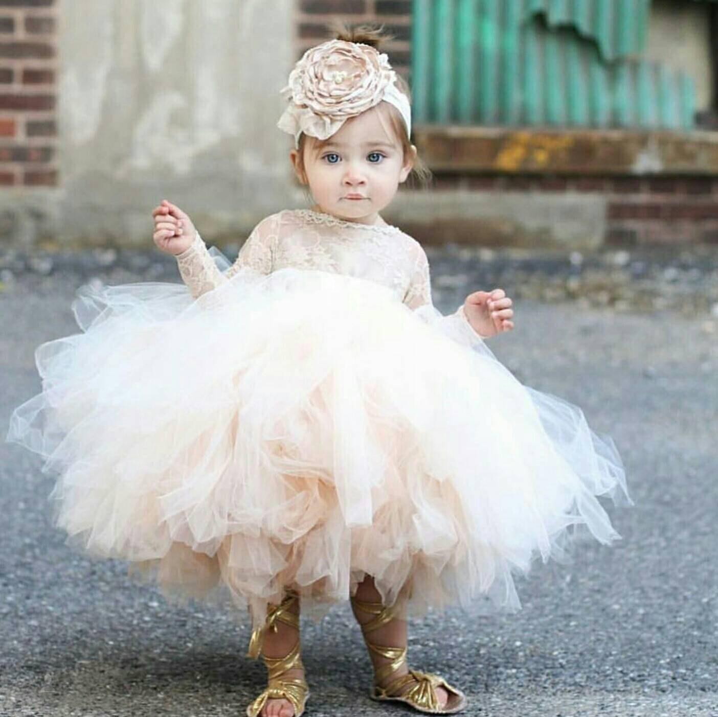 Flower Girl Dress Long Sleeve Lace Tutu Dress Ivory And