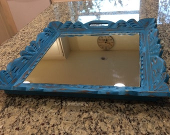 Primitive Rustic Carved Wood Serving Tray - Mirror Tray - Distressed  in Turquoise