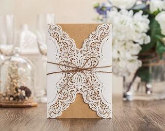 Rustic Invitation, Wedding Invitation, DIY Invitation, Vintage Invitation, Lace Invite, Doily Invitation, Burlap Lace, Shabby Chic Invite