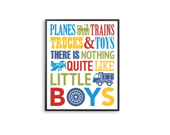 Planes, trains, trucks and toys Boys Room Wall Art Nursery Decor Printable 8x10 and 11x14 Poster Instant Download Digital Print for Kids