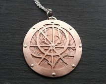 Planespheric Astrolabe Pendant - Handcut and etched oxidised copper - Handcrafted Jewellery