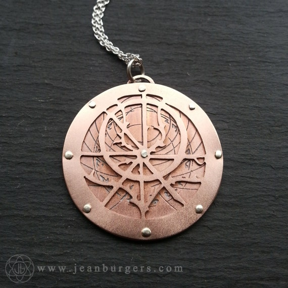 planespheric astrolabe pendant handcut and etched oxidised
