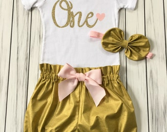 Girls 1st Birthday Onesie Outfit, Bloomers, Knot Bow Headband, Number One Gold with Heart, Carters Onesie, Baby Girl, Pink and Gold Party